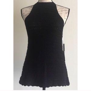 {1. State} Tahiti Black Crochet Knit Halter Top